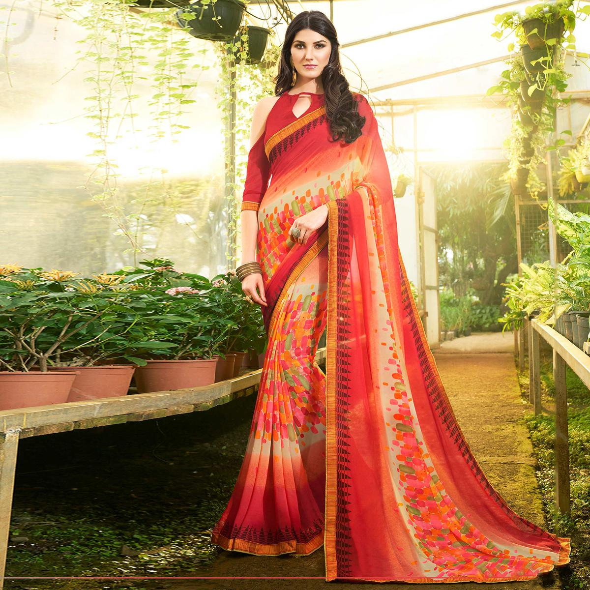 Trendy Red Colored Casual Printed Georgette Saree