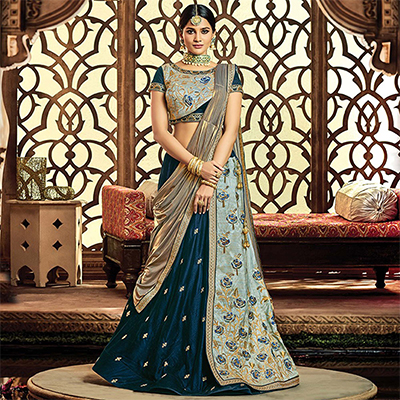 Elegant Royal Blue Colored Designer Embroidered Wedding Wear Velvet-Raw Silk Lehenga Saree