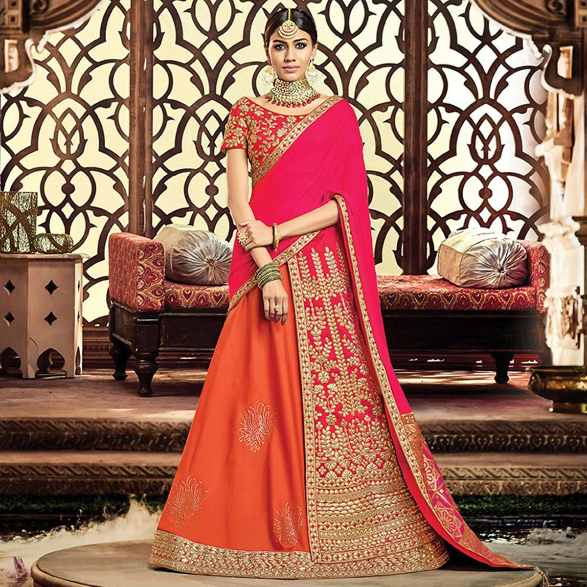 28bbeaf7d48c Buy Unique Orange-Pink Colored Designer Embroidered Wedding Wear Tapeta-Raw  Silk Lehenga Saree for womens online India, Best Prices, Reviews - Peachmode