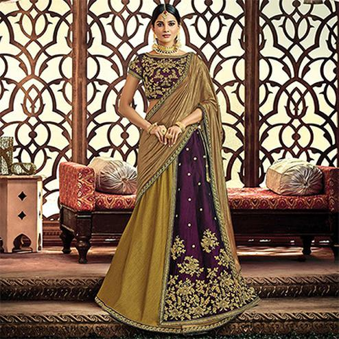 Pleasant Olive Green-Violet Designer Embroidered Wedding Wear Dhupian-Velvet Lehenga Saree