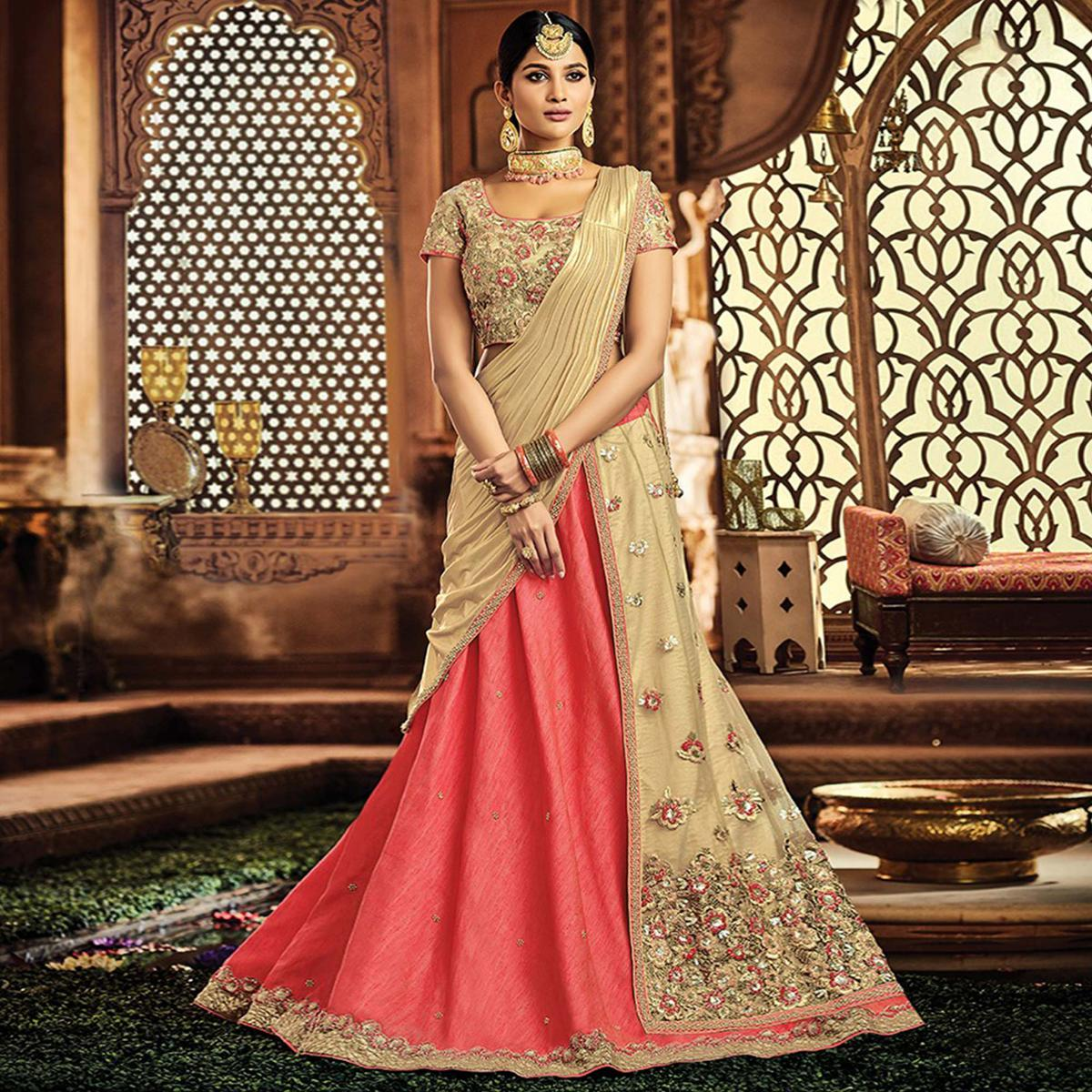 Intricate Peach-Beige Designer Embroidered Wedding Wear Raw Silk-Net Lehenga Saree