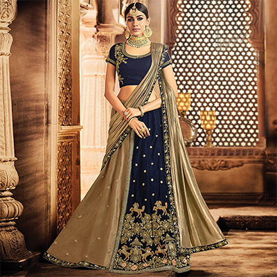 Desirable Brown-Navy Blue Colored Designer Embroidered Wedding Wear Velvet-Dhupian Lehenga Saree