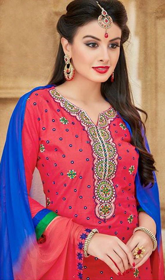 Red Satin Cotton Designer Embroidered Wedding Patiala Suit