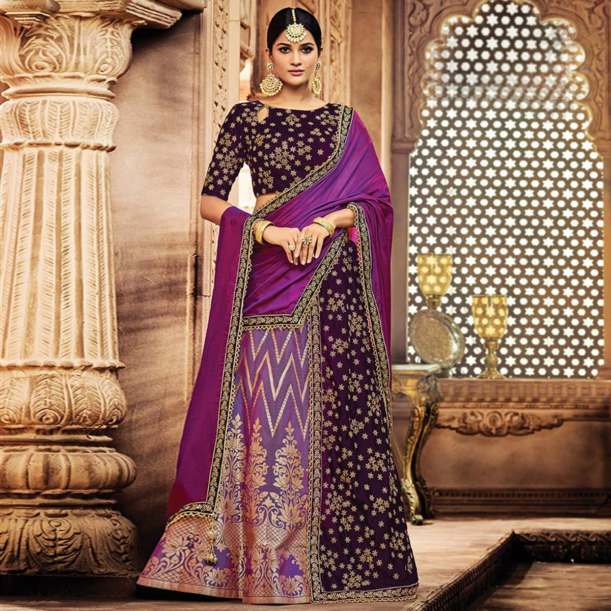 Alluring Purple Colored Designer Embroidered Wedding Wear Jacquard Silk-Velvet Lehenga Saree