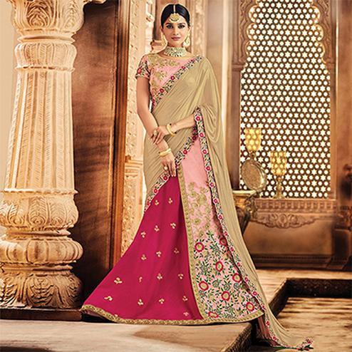 Radiant Pink Colored Designer Embroidered Wedding Wear Raw Silk Lehenga Saree