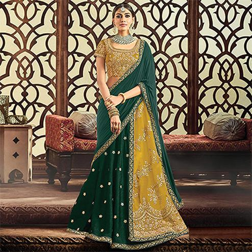 Mustard Yellow-Dark Green Designer Embroidered Wedding Wear Raw Silk-Tapeta Lehenga Saree