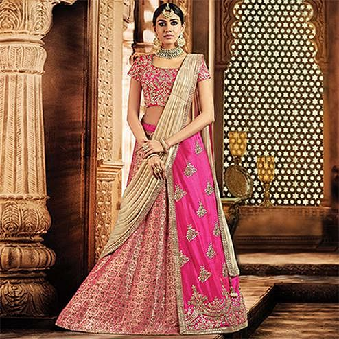 Pretty Pink Colored Designer Embroidered Wedding Wear Jacquard-Tapeta Silk Lehenga Saree