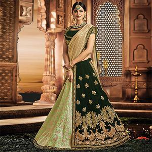 Gorgeous Green Colored Designer Embroidered Wedding Wear Jacquard Silk-Velvet Lehenga Saree