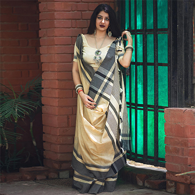 Pleasant Off-White Colored Festive Wear Raw Silk Saree