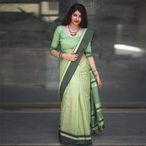 Attractive Mint Green Colored Festive Wear Raw Silk Saree