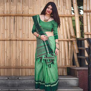 Pretty Green Colored Festive Wear Raw Silk Saree