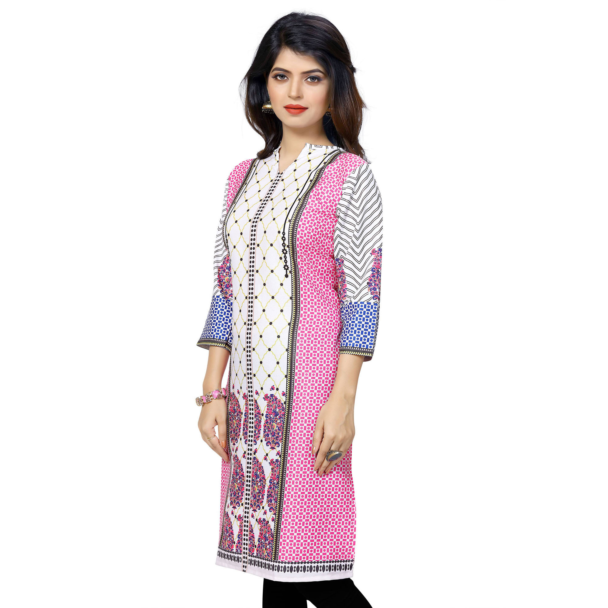 White - Pink Ready Made Printed Kurti