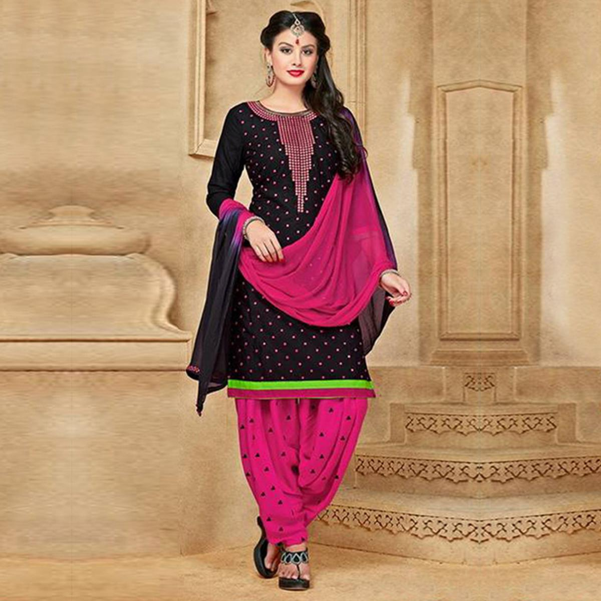 Black Satin Cotton Designer Embroidered Wedding Patiala Suit