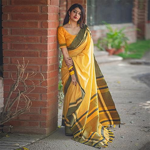 Glowing Yellow Colored Festive Wear Raw Silk Saree