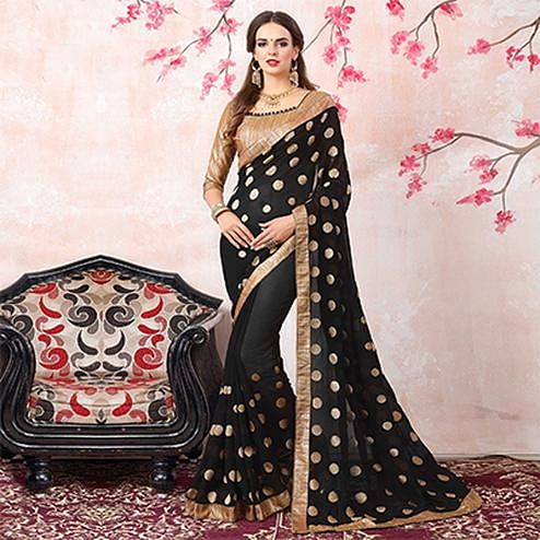 Bold Black Colored Casual Printed Georgette Saree