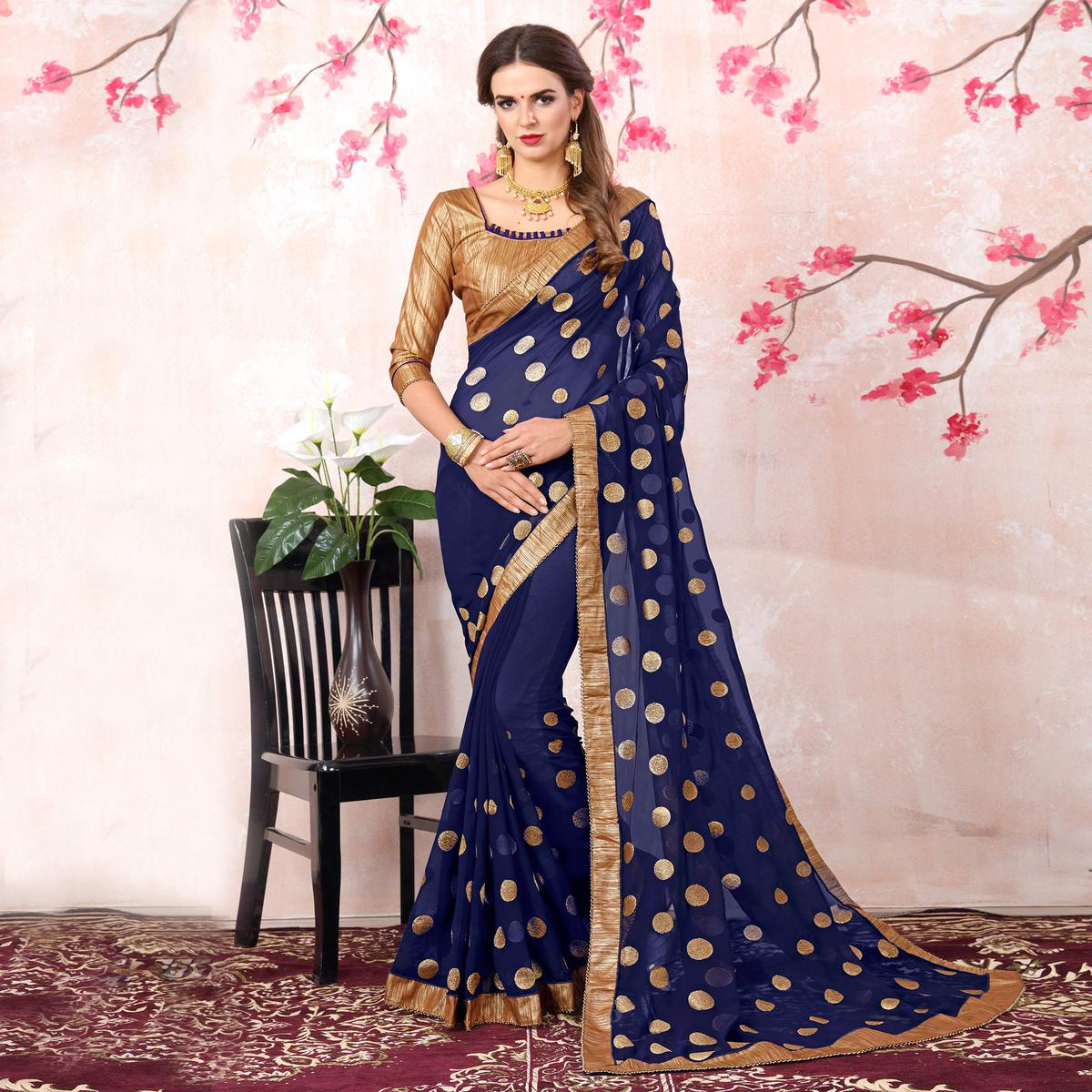 Attractive Navy Blue Colored Casual Printed Georgette Saree