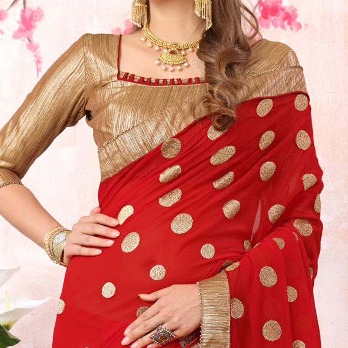 Hot Red Colored Casual Printed Georgette Saree
