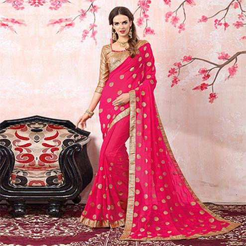 Pretty Pink Colored Casual Printed Georgette Saree