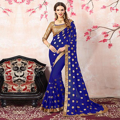 Elegant Royal Blue Colored Casual Printed Georgette Saree
