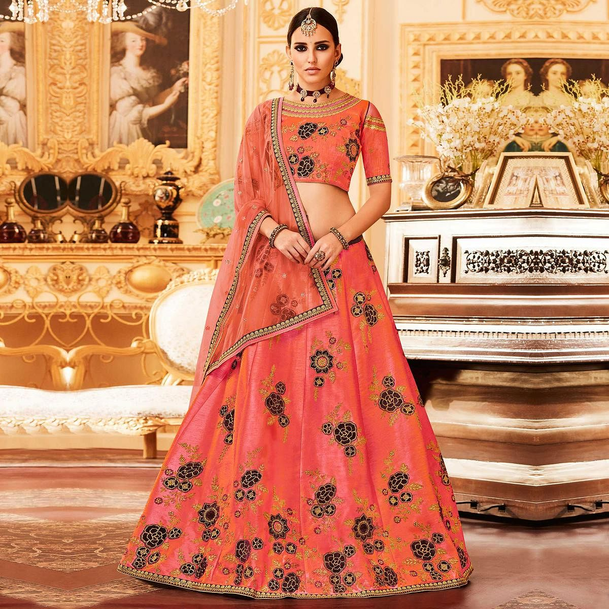 91fb88edda5246 Buy Peach Colored Designer Embroidered Party Wear Raw Silk Lehenga Choli  for womens online India, Best Prices, Reviews - Peachmode