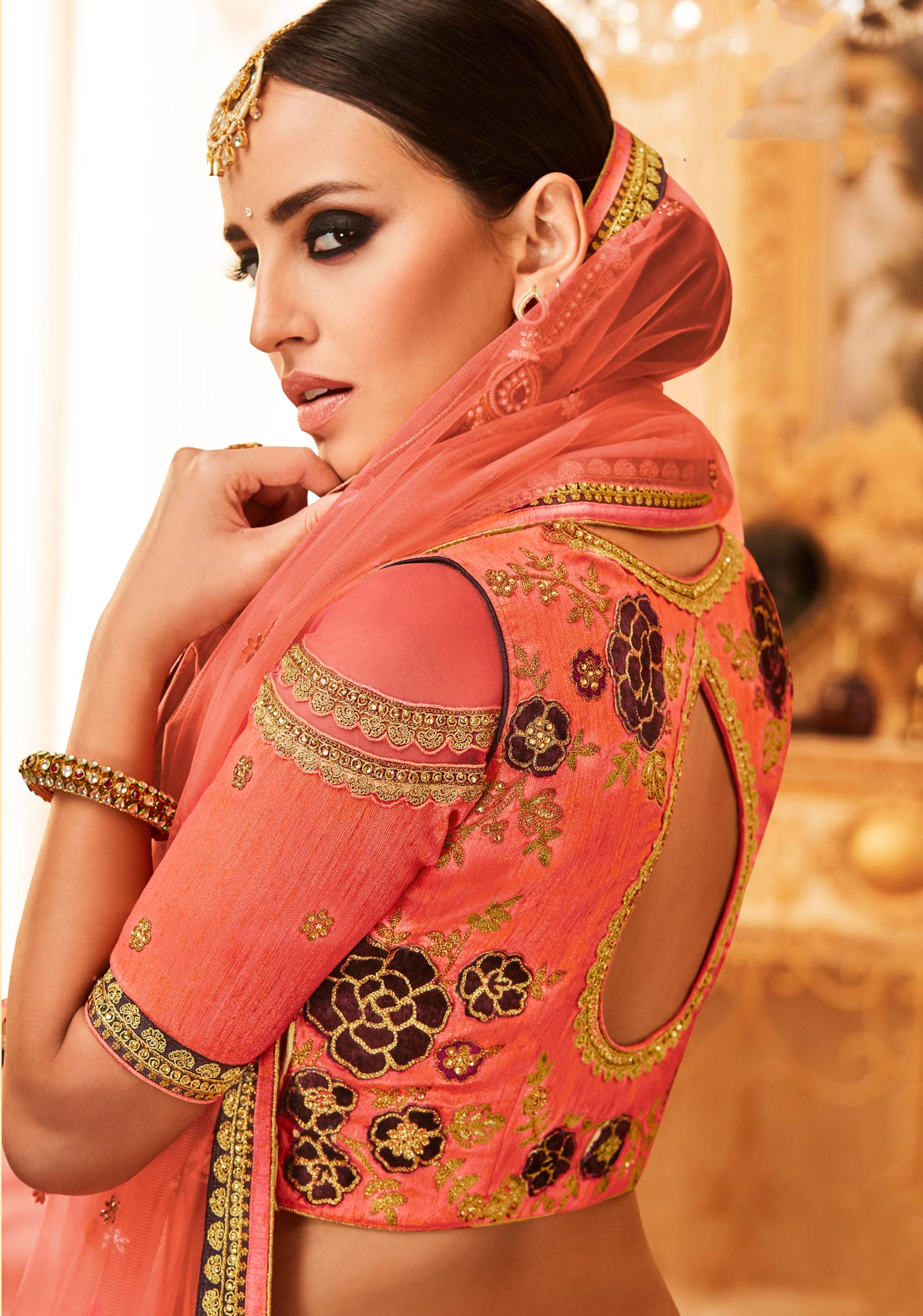 Buy Peach Colored Designer Embroidered Party Wear Raw Silk ...