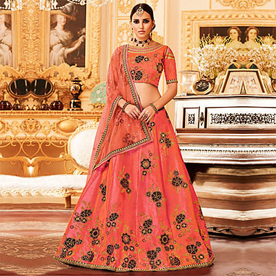 Peach Colored Designer Embroidered Party Wear Raw Silk Lehenga Choli