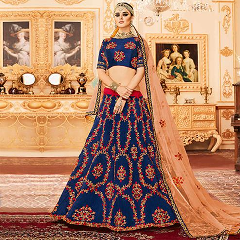 Blue Colored Designer Embroidered Party Wear Raw Silk Lehenga Choli