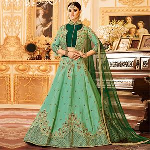Light Green Colored Designer Embroidered Party Wear Raw Silk Lehenga Choli