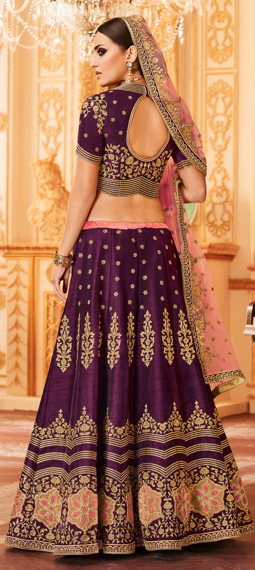Purple Colored Designer Embroidered Party Wear Raw Silk Lehenga Choli