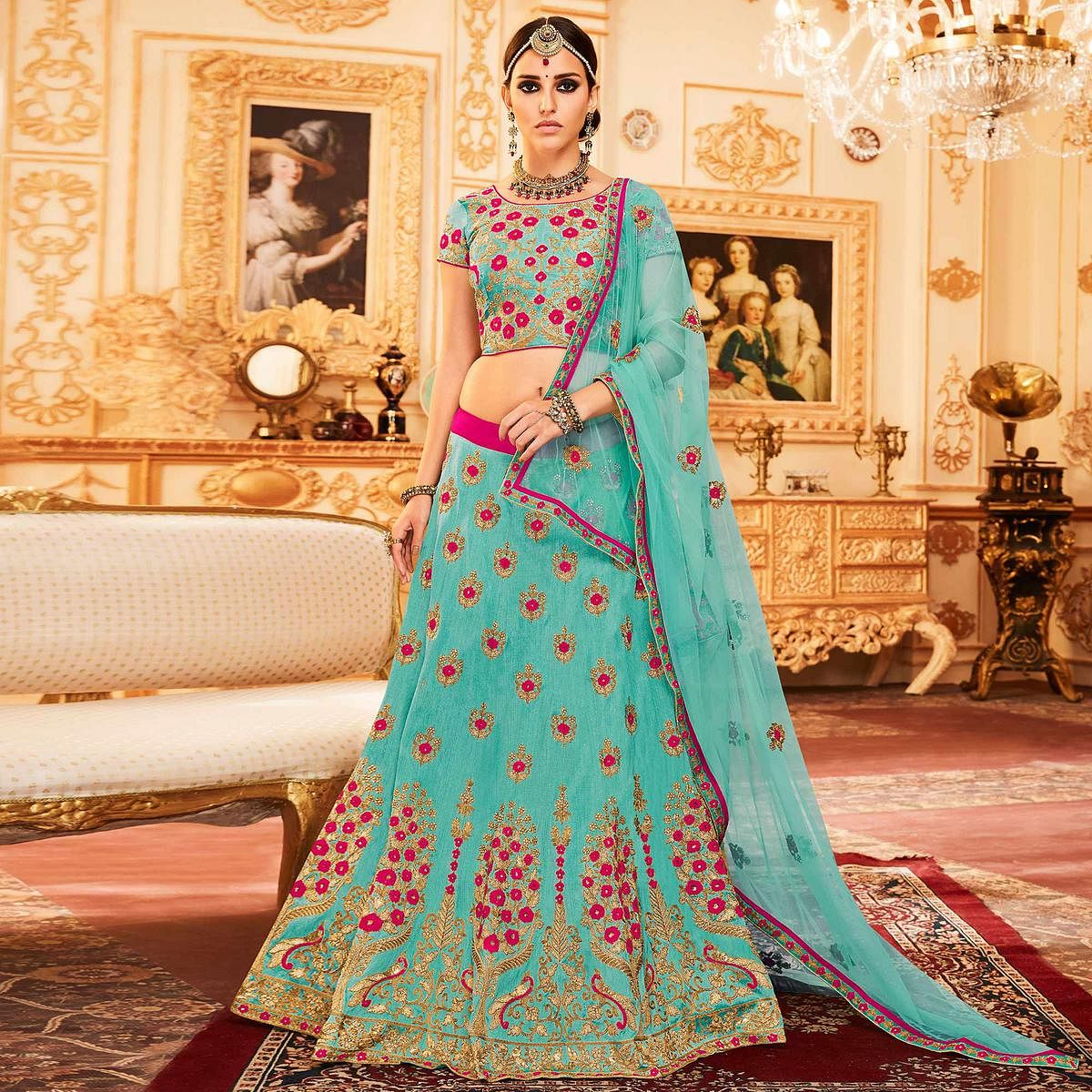 df4537b1cb Buy Sky blue Colored Designer Embroidered Party Wear Raw Silk Lehenga Choli  for womens online India, Best Prices, Reviews - Peachmode