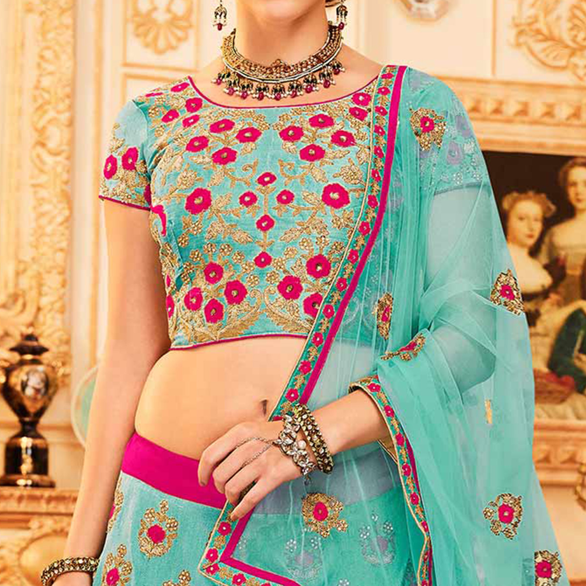 Sky blue Colored Designer Embroidered Party Wear Raw Silk Lehenga Choli