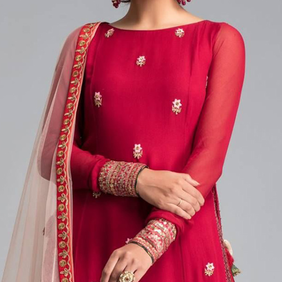 Radiant Red Designer Partywear Embroidered Georgette Suit