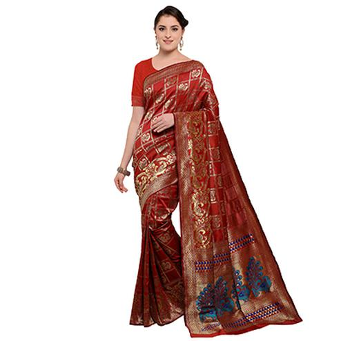 Traditional Red Colored Festive Wear Woven Silk Saree