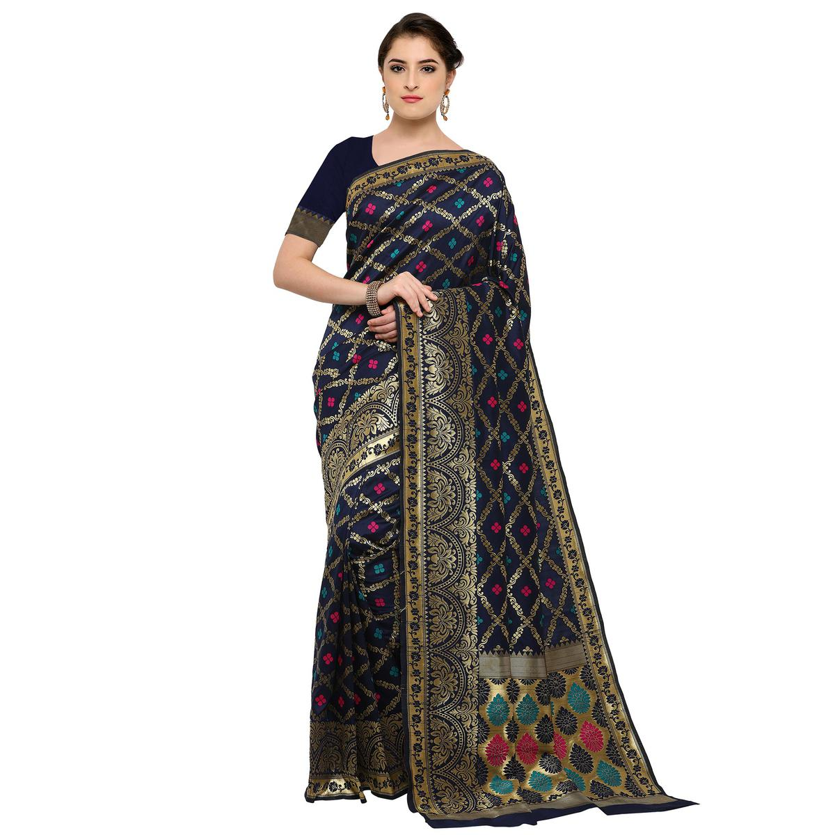 Majestic Navy Blue Colored Festive Wear Woven Silk Saree
