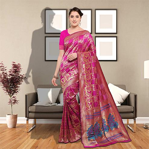 Mesmerising Pink Colored Festive Wear Woven Silk Saree