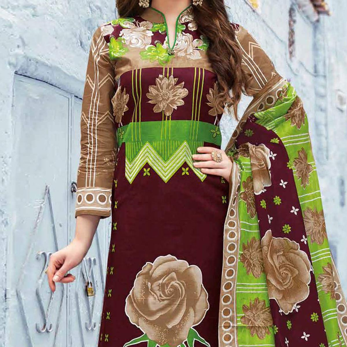 Brown Colored Casual Wear Printed Pure Cotton Dress Material