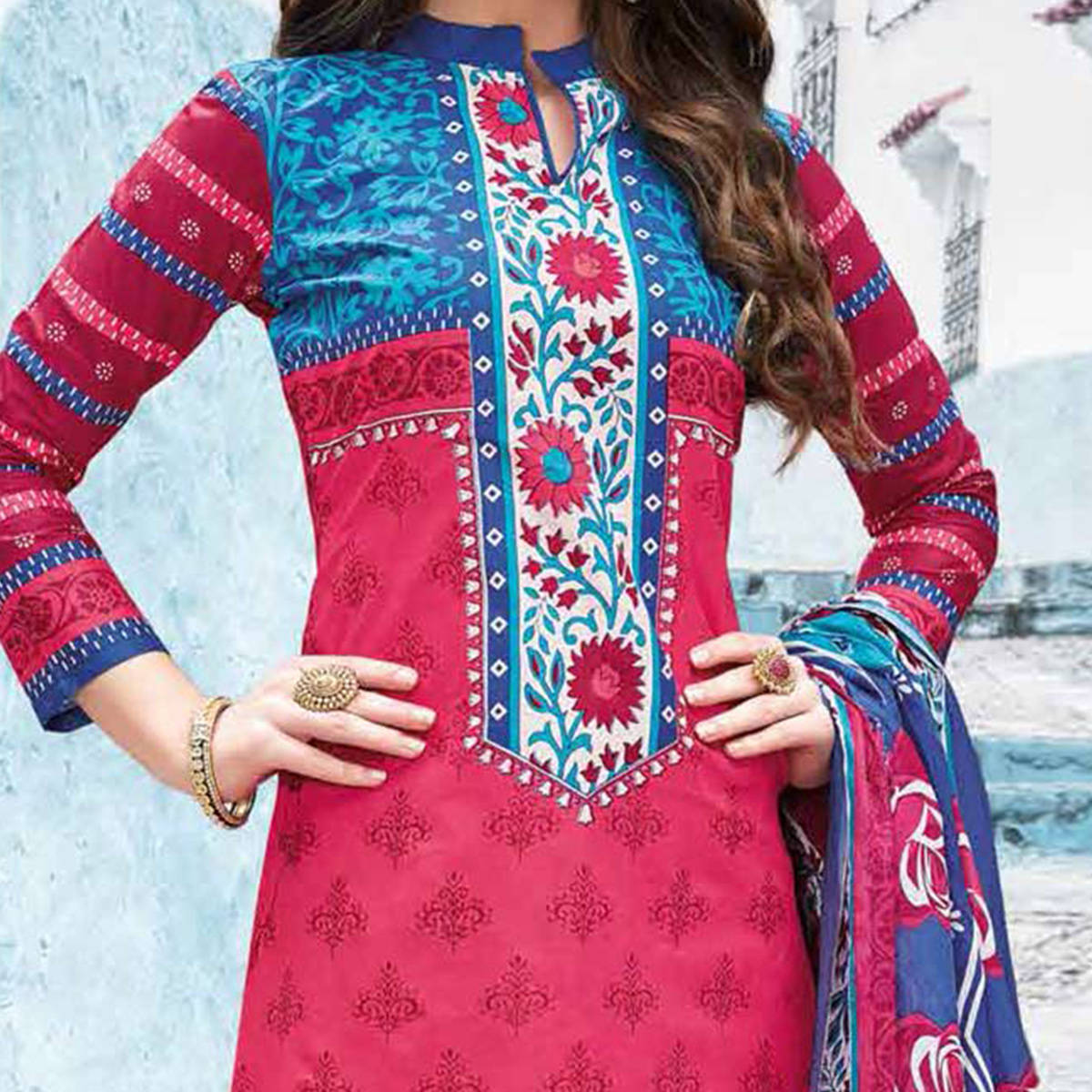 Deep Pink Colored Casual Wear Printed Pure Cotton Dress Material