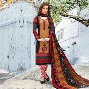 Light Brown Colored Casual Wear Printed Pure Cotton Dress Material