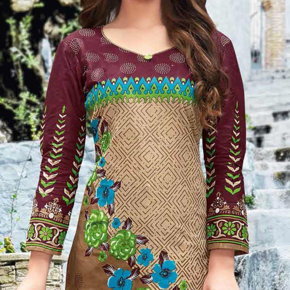 Beige-Brown Colored Casual Wear Printed Pure Cotton Dress Material