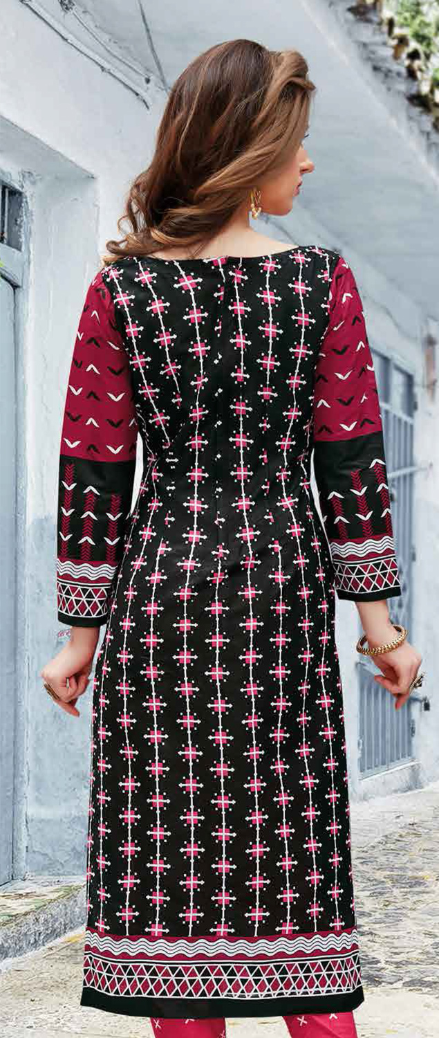 Black Colored Casual Wear Printed Pure Cotton Dress Material