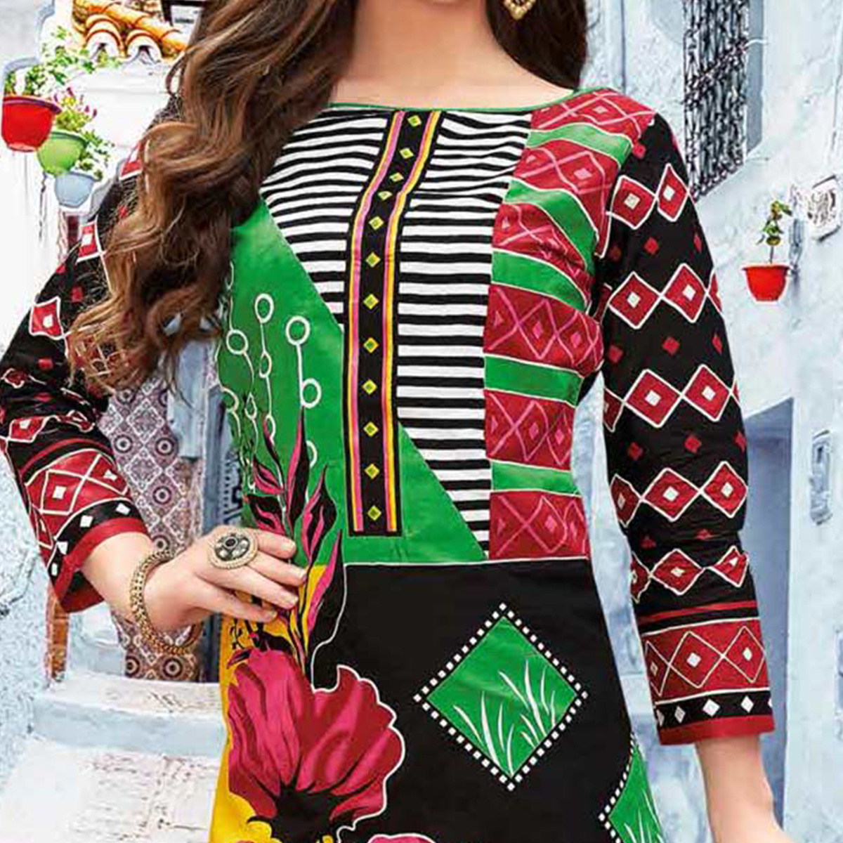 Multi Colored Casual Wear Printed Pure Cotton Dress Material