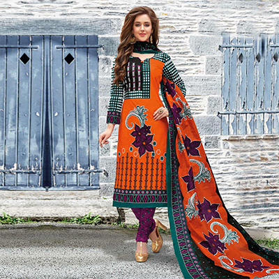 Orange Colored Casual Wear Printed Pure Cotton Dress Material