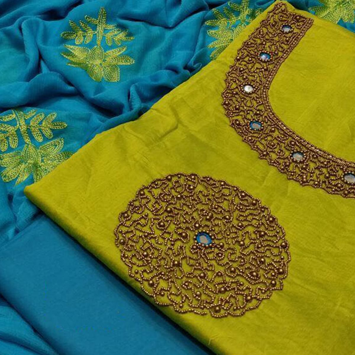 Attractive Green Colored Partywear Embroidered Modal Dress Material