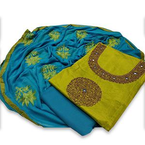 Attractive Mehendi Green Colored Partywear Embroidered Modal Dress Material