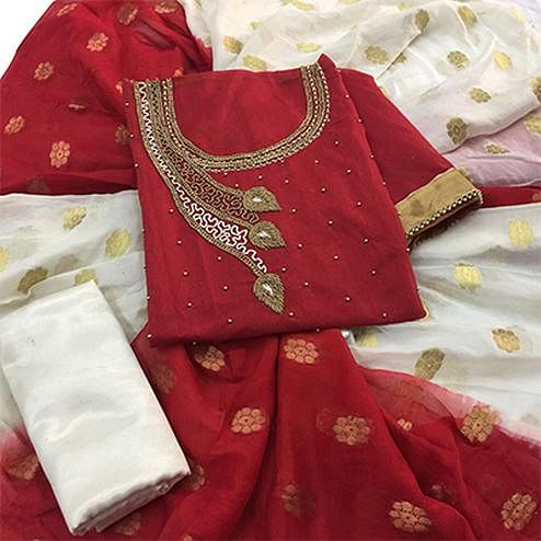 Beautiful Maroon Colored Partywear Embroidered Modal Dress Material