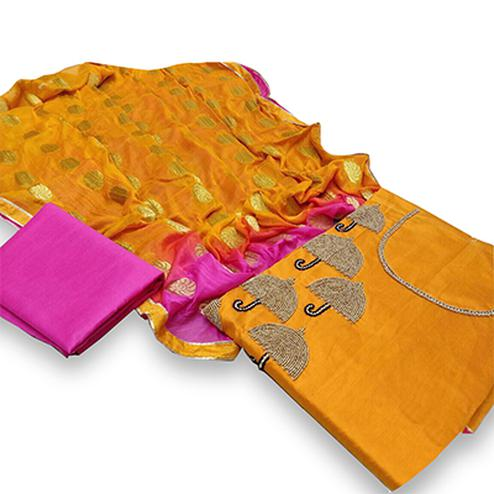 Glowing Yellow Colored Partywear Embroidered Modal Dress Material