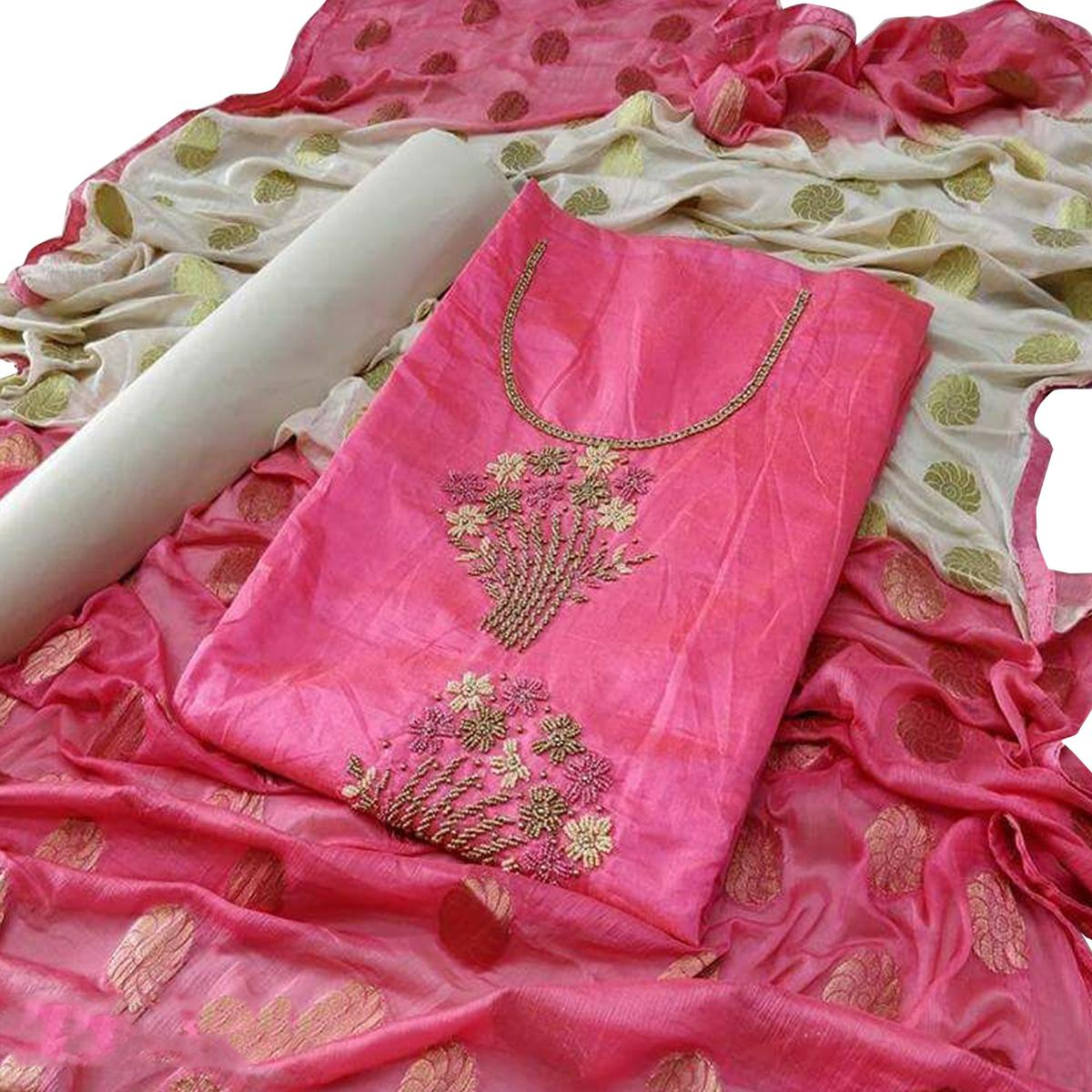 Refreshing Pink Colored Partywear Embroidered Modal Dress Material