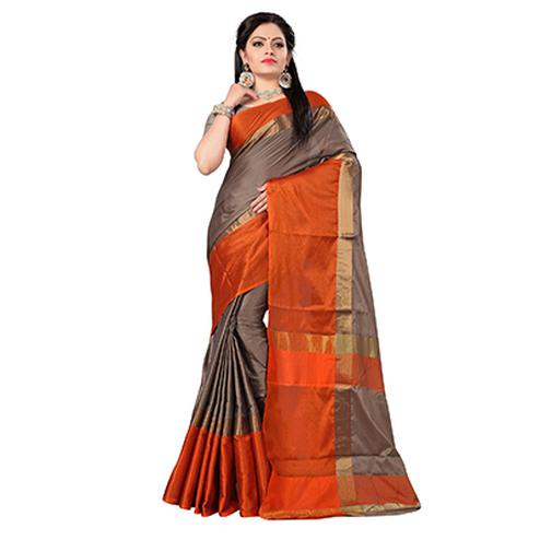 Beautiful Orange-Brown Colored Festive Wear Art Silk Saree