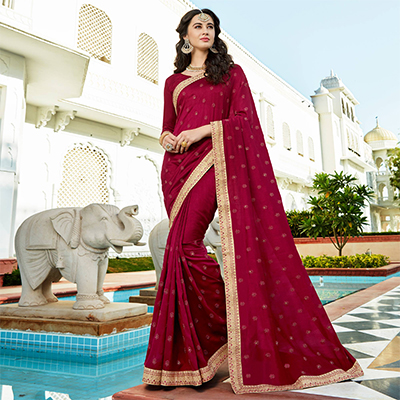Opulent Maroon Colored Designer Embroidered Soft Silk Saree
