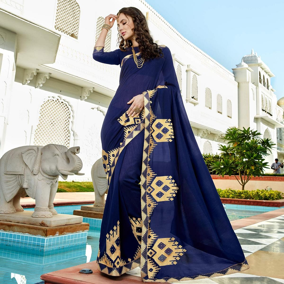 Majesty Royal Blue Colored Designer Embroidered Soft Silk Saree